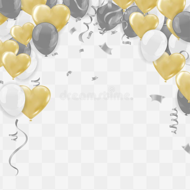 Valentine`s day ,Template Realistic Air Balloons in the Form of Heart. Vector Illustration with Confetti and Serpentine royalty free illustration