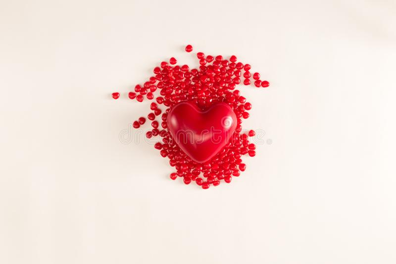 Valentine`s day theme with heart candies stock images