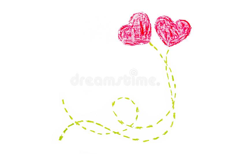 Valentine`s day two heart hand painting vector illustration
