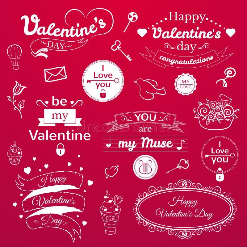 Valentine's Day typography set, vector vector illustration