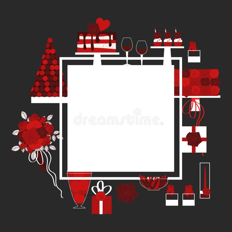 Valentine`s Day Vector Frame With Cake, Flowers And Gifts Stock ...