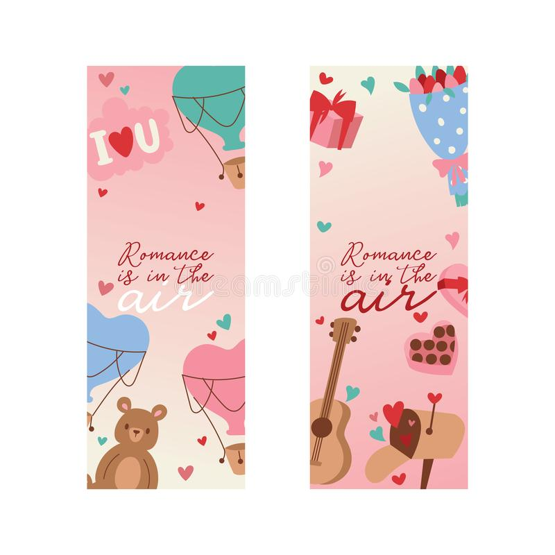 Valentine s day vector illustration. Romance is in the air banner, poster, flyer, brochure with hearts, bear toys. Flowers gifts sweets guitar greeting cards vector illustration