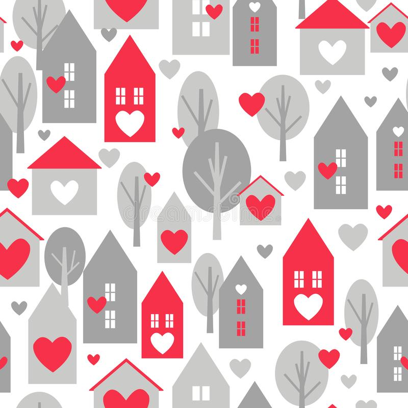 Valentine`s day vector  seamless pattern. With cute houses on white background stock illustration