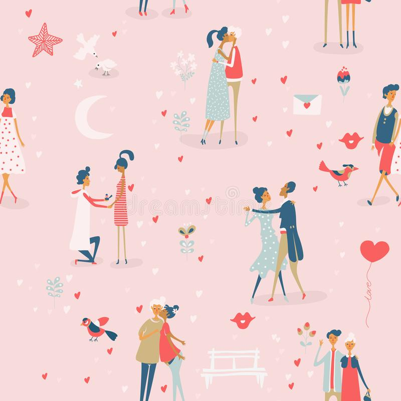 Valentine`s Day vector seamless pattern with cute lovers. Boyfriend and girlfriend are in love. Hand drawn illustration in vintage. Style. Happy Velentines day vector illustration