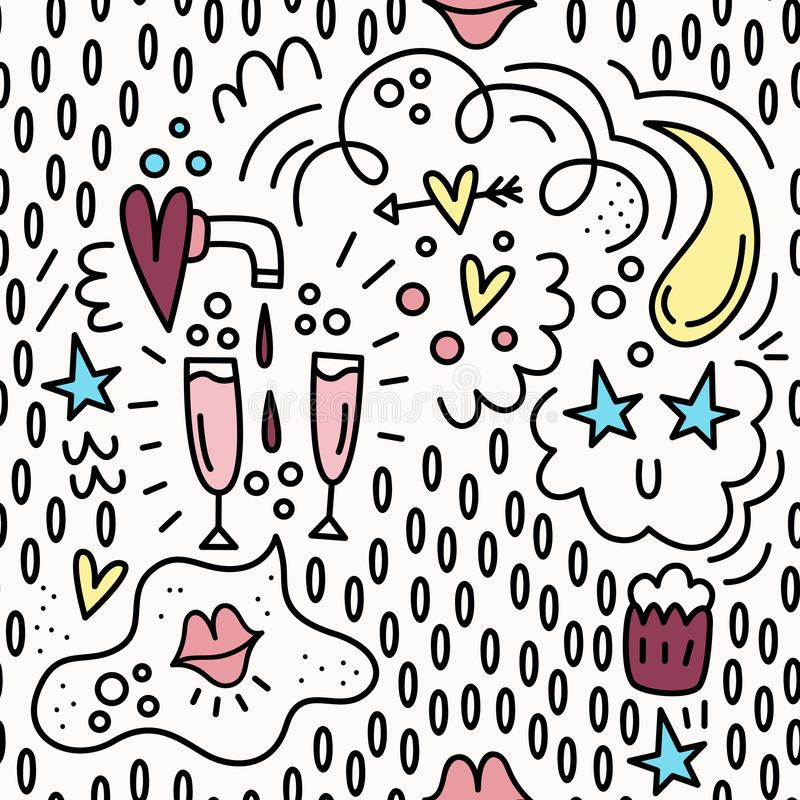 Valentine`s day. Vector seamless pattern in Doodle style. Hearts, glasses, wine glasses, lips, cake stock illustration