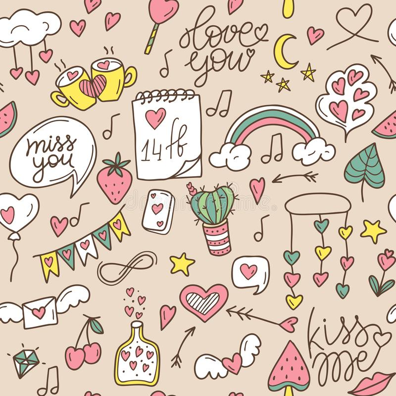 Valentine`s Day vector seamless pattern. Pattern for St. Valentine. Seamless pattern on the theme of love, feelings, relationship stock photography