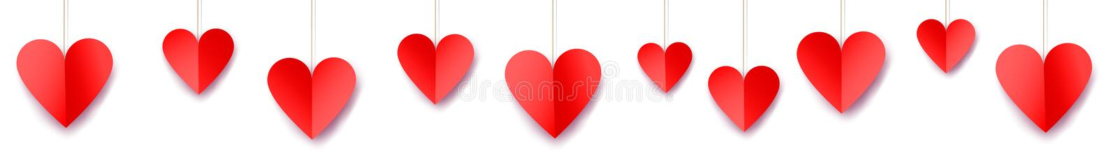 Valentine`s day web banner. With paper hearts stock illustration