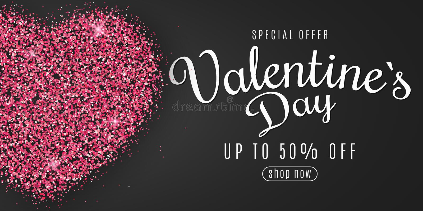 Valentine`s Day web banner for sale. Heart of pink glitters with calligraphy. Special offer. Big discounts. Brilliant dust. Vecto stock illustration