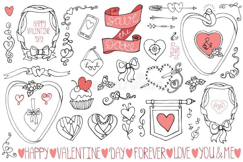 Valentine S Day Wedding Frames Decor Elements Stock Vector Illustration Of Doodle Beautiful 48813220
