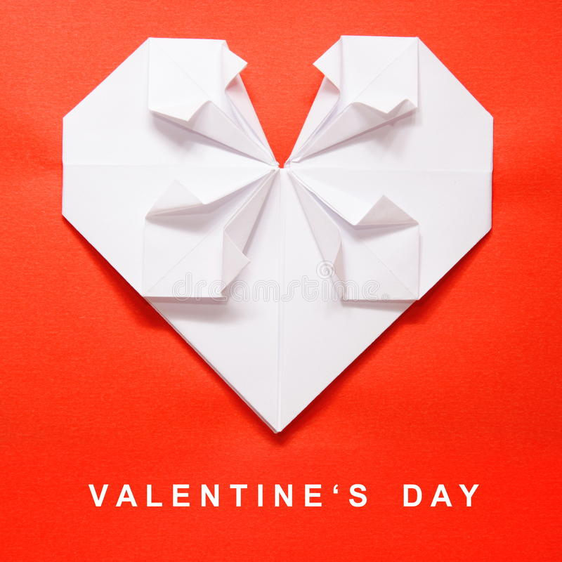 Valentine's Day White Heart Origami Card royalty free stock images