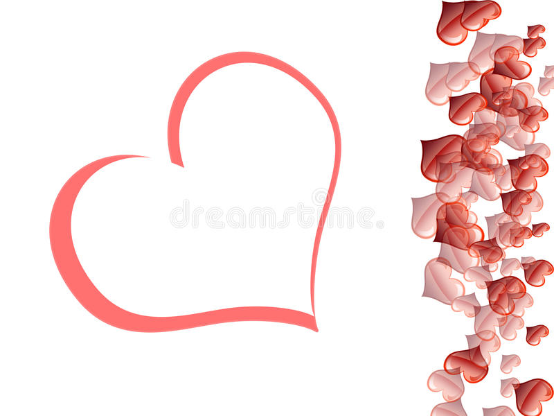 Valentine's Days. Cardof san valentine with red hearts to side and double heart I center her/it vector illustration
