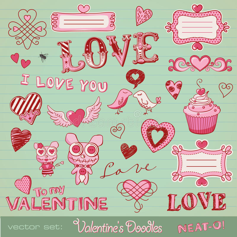Valentine's doodles. Lots of cute design elements royalty free illustration