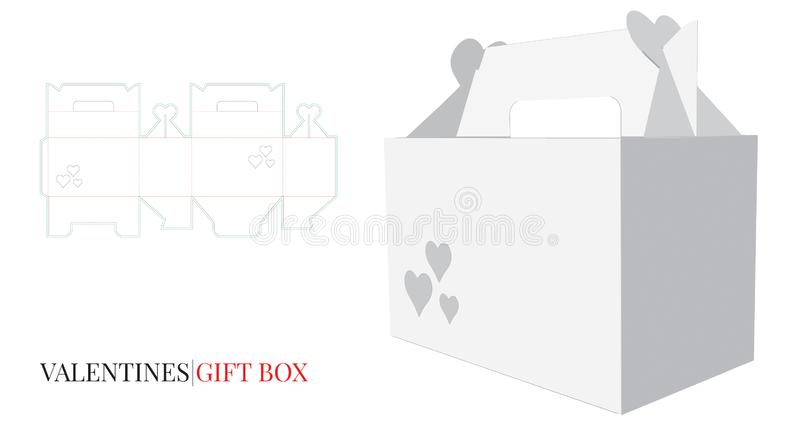 Gift Box with Handle Template with die cut / laser cut lines. Valentine`s Heart Box mock up vector. Valentine`s Gift Box with Handle, Valentine`s Heart Box royalty free illustration