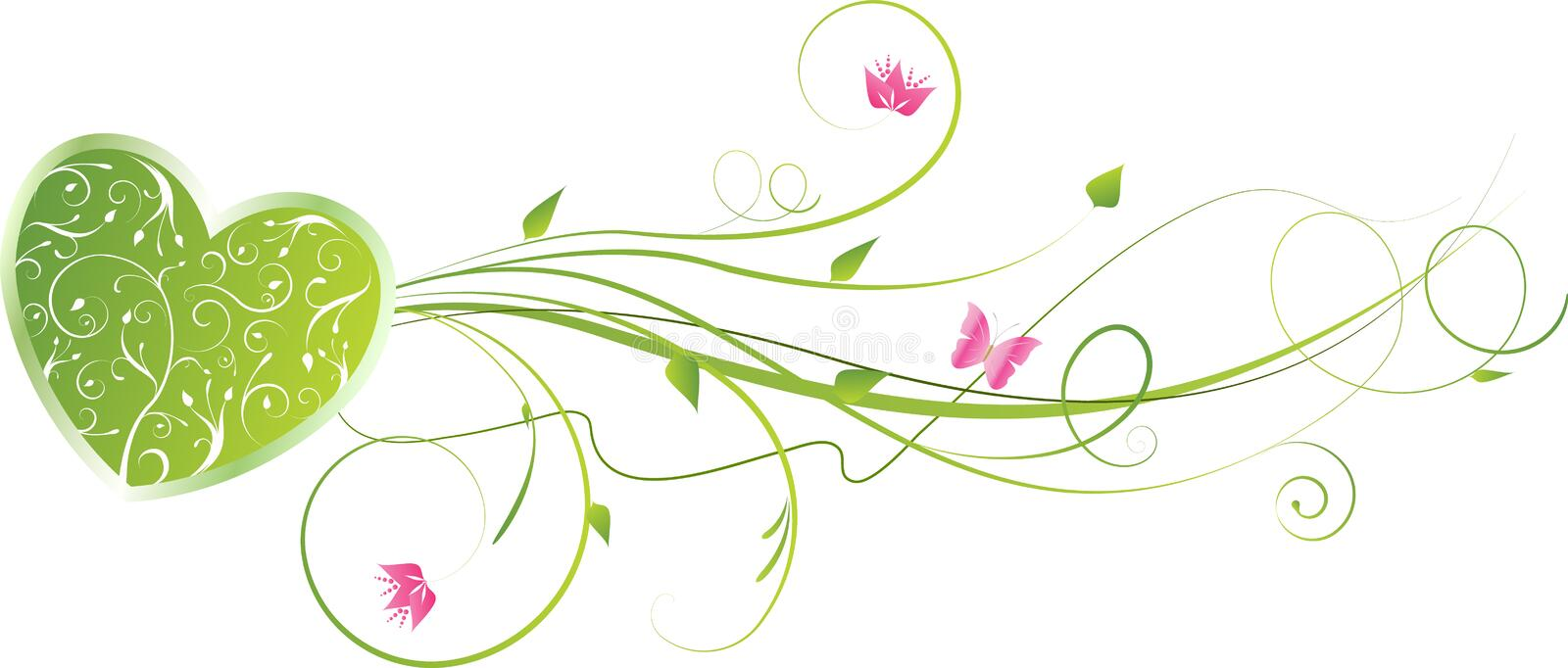 Valentine's green heart with floral swirls. Pink flowers and butterfly stock illustration