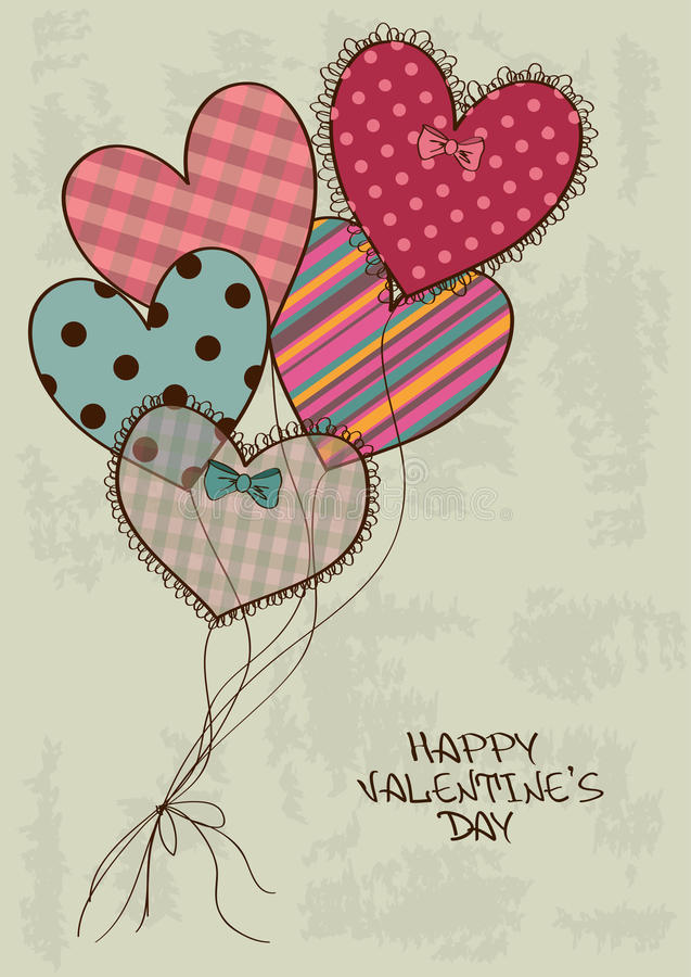 Valentine's greeting card with heart air balloons stock illustration