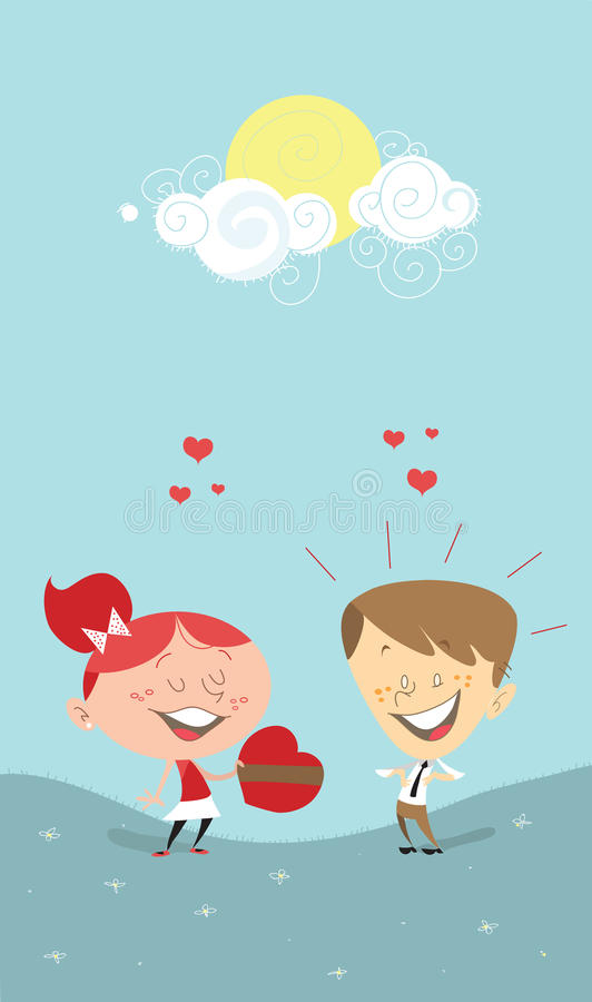 Download Valentine's Heart, Girl Giving A Gift To A Boy Stock Illustration - Image: 17815983
