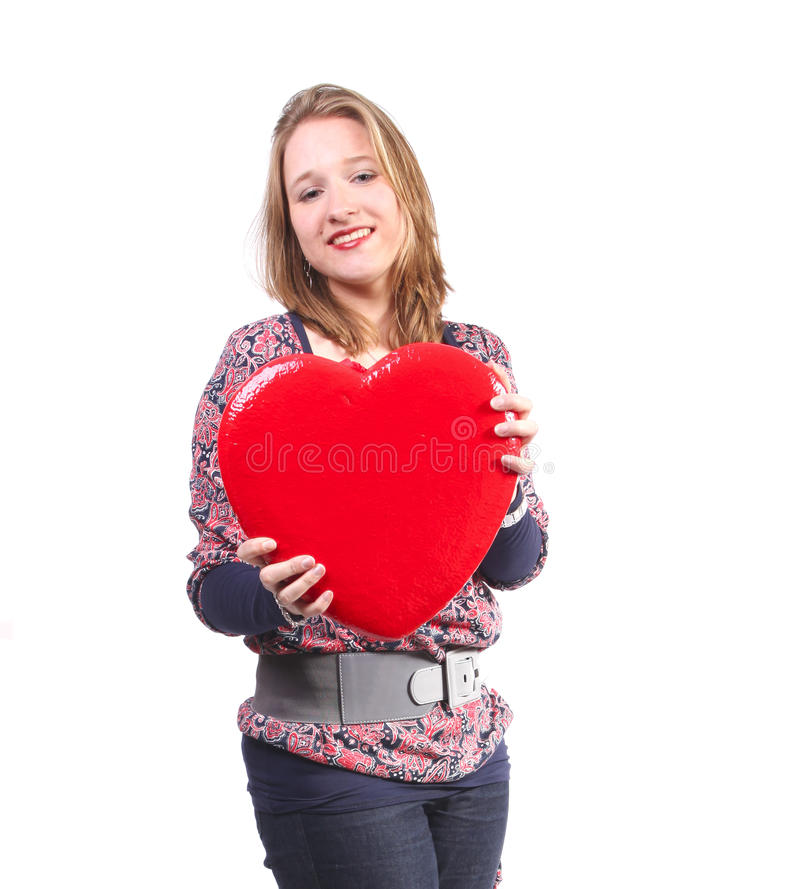 Valentine's heart in her hands royalty free stock photos