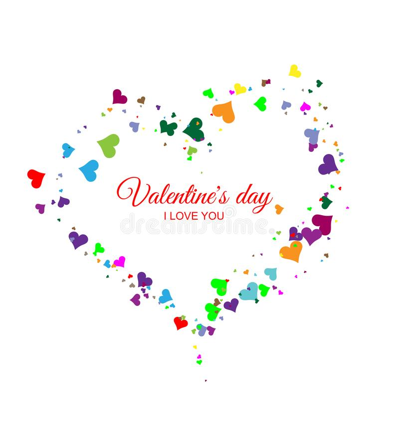 Valentine`s heart of multicolored hearts on a white background. Falling heart royalty free illustration