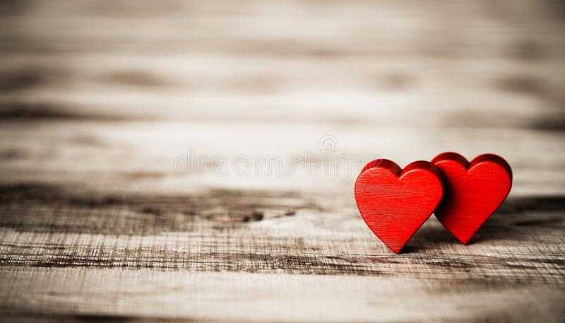 Valentine`s heart on wooden board stock photo