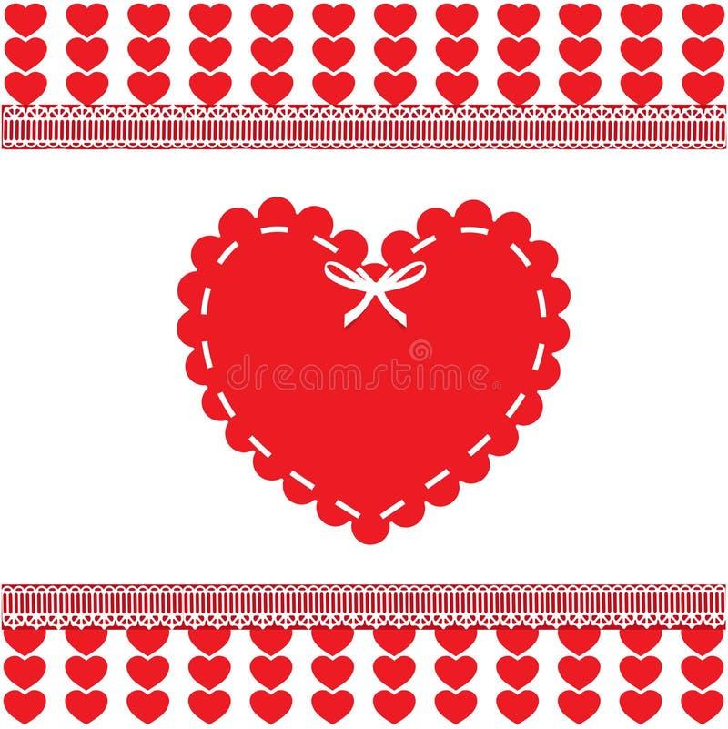 Valentine ` s of het malplaatje van de huwelijksliefde met hartzegel royalty-vrije illustratie