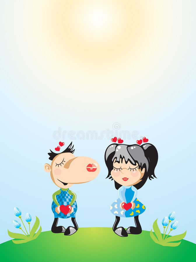 Valentine s kiss illustration royalty free stock images