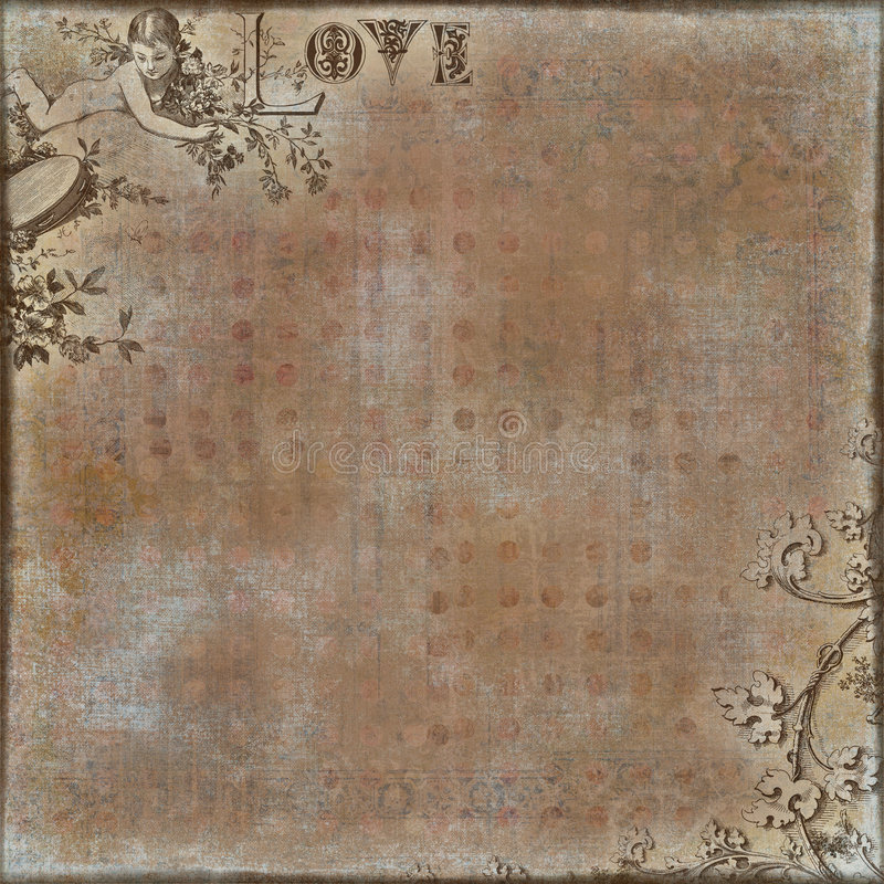 Valentine's Love Scrapbook Background. Artistic valentine's background for scrapbooking with angel