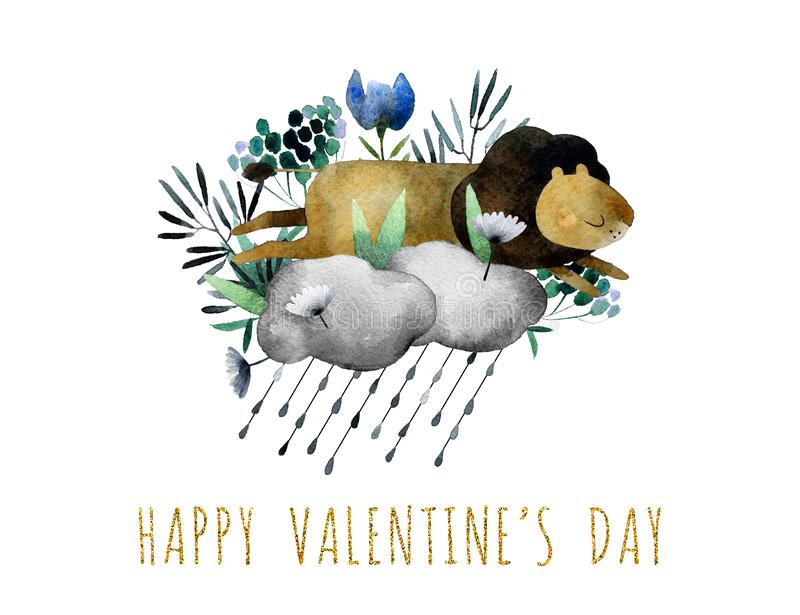 Happy Valentine`s day postcard with flowers. Beautiful watercolor bouquet with watercolor lion isolated on white background. Happy Valentine`s Day postcard vector illustration