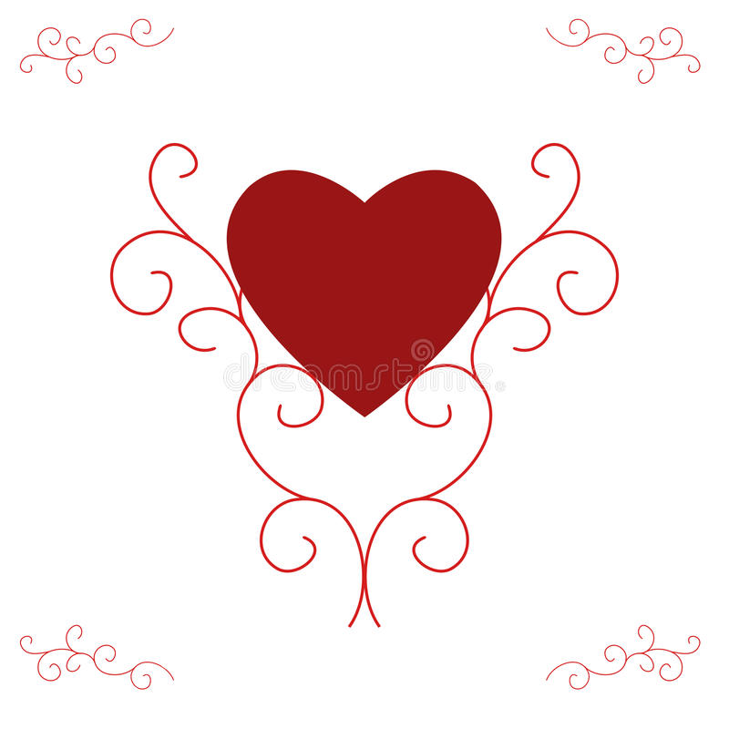 Valentine's Red Heart - Ornate Scrolls. Illustration of a red filled heart, centred and supported by ornate, yet contemporary, scrolls. Red with white background stock illustration
