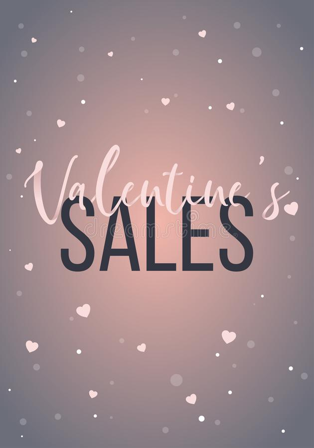 Valentine`s sales banner design. Can be used as porter or flyer. Business template stock illustration