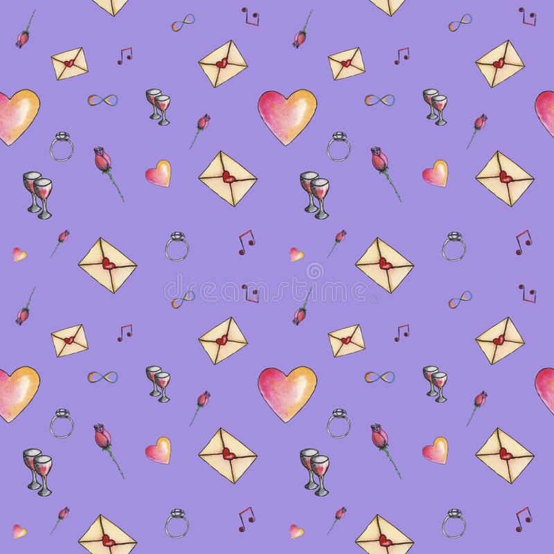Valentine`s seamless cute cartoon pattern made with love royalty free stock photo