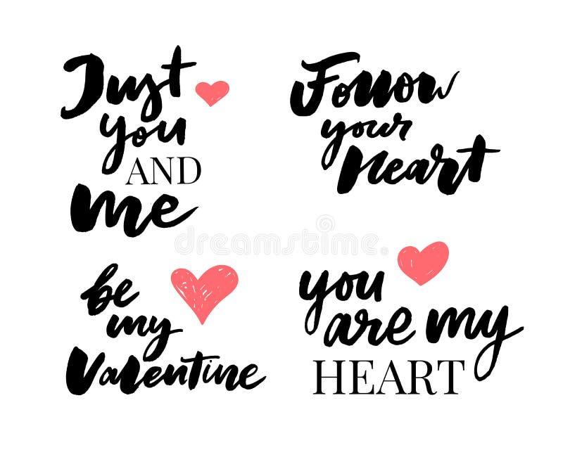 Valentine' s-Tagessatz Symbole kalligraphie Auch im corel abgehobenen Betrag Grau auf weißem Hintergrund lizenzfreie abbildung