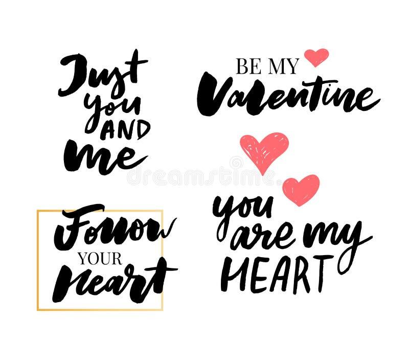 Valentine' s-Tagessatz Symbole kalligraphie Auch im corel abgehobenen Betrag Grau auf weißem Hintergrund stock abbildung