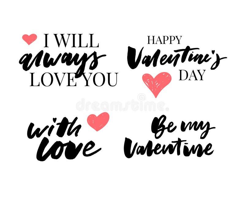Valentine' s-Tagessatz Symbole kalligraphie Auch im corel abgehobenen Betrag Grau auf weißem Hintergrund vektor abbildung