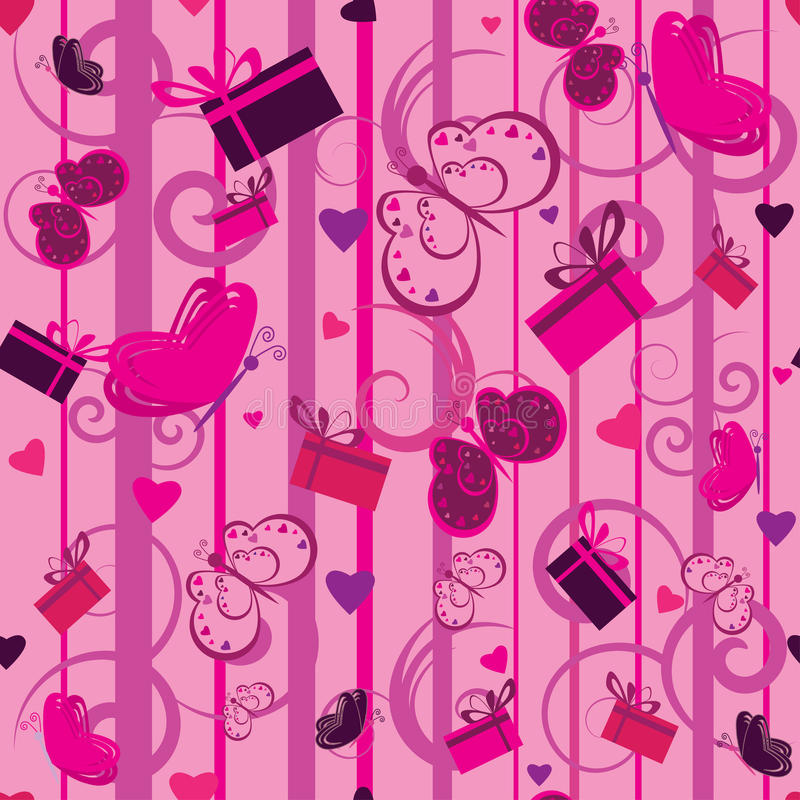 Valentine seamless pattern with gifts and hearts