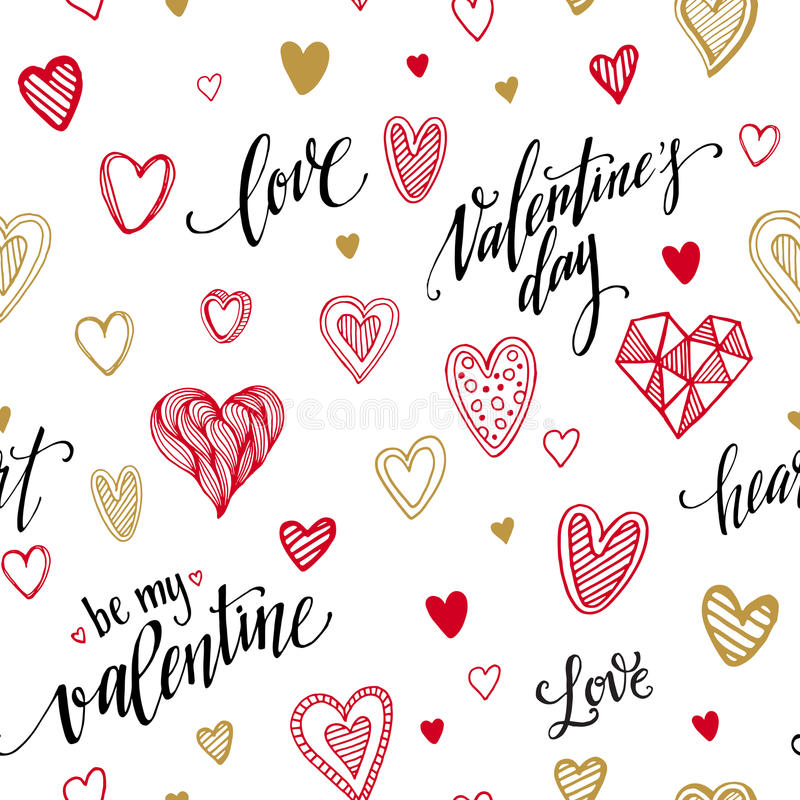 Valentine seamless pattern with hand lettering vector illustration