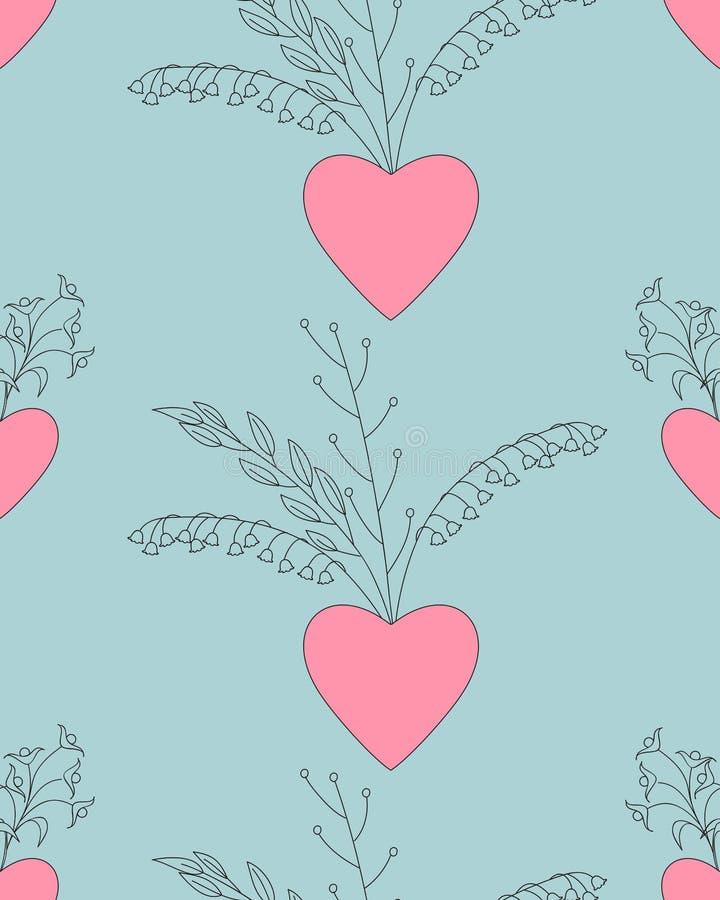 Valentine seamless pattern with hearts stock illustration
