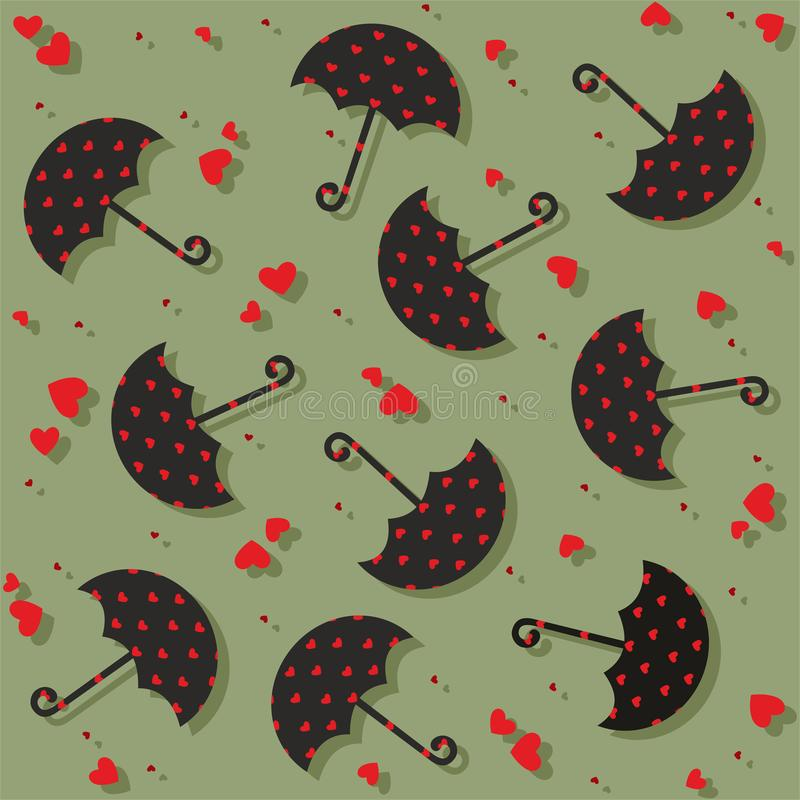 Umbrellas and hearts seamless pattern - vector. Valentine seamless pattern with umbrellas and hearts. Useful also as design element for gift wrapping. Eps file royalty free illustration