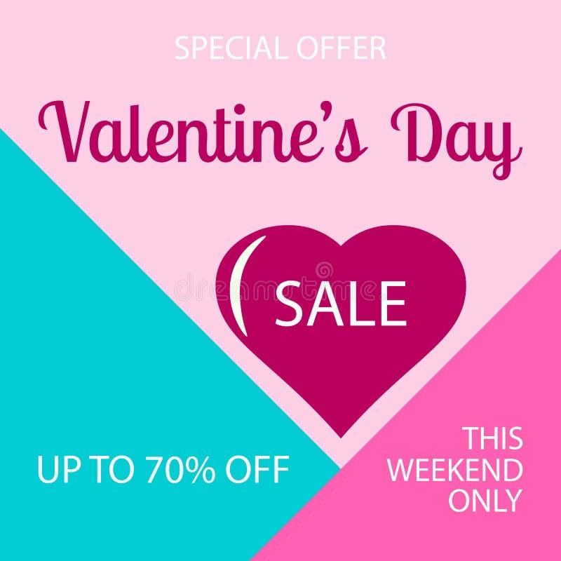 Valentine: sfondo di vendita con cuore rosso per carta, poster, post sui social media, brochure Concetto della giornata dell'amor illustrazione di stock