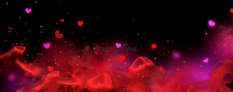 Valentine: sfondo rosso e nero Holiday Blink Abstract Valentine Backdrop con cuori soffianti Heart Shape Bokeh illustrazione vettoriale