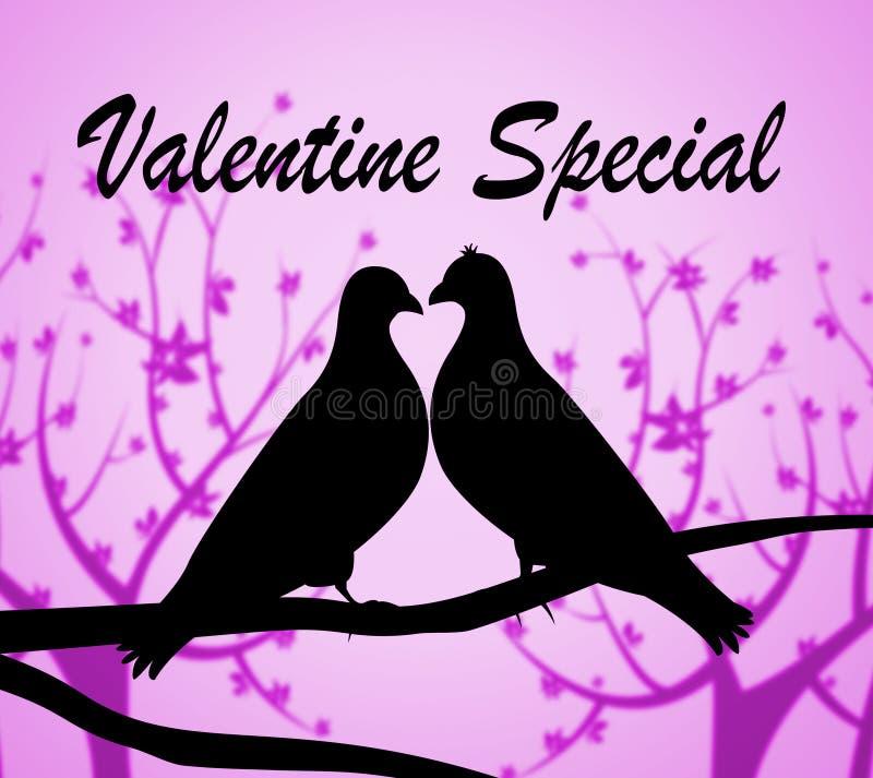 Valentine Special Indicates Valentines Day ed affari illustrazione di stock