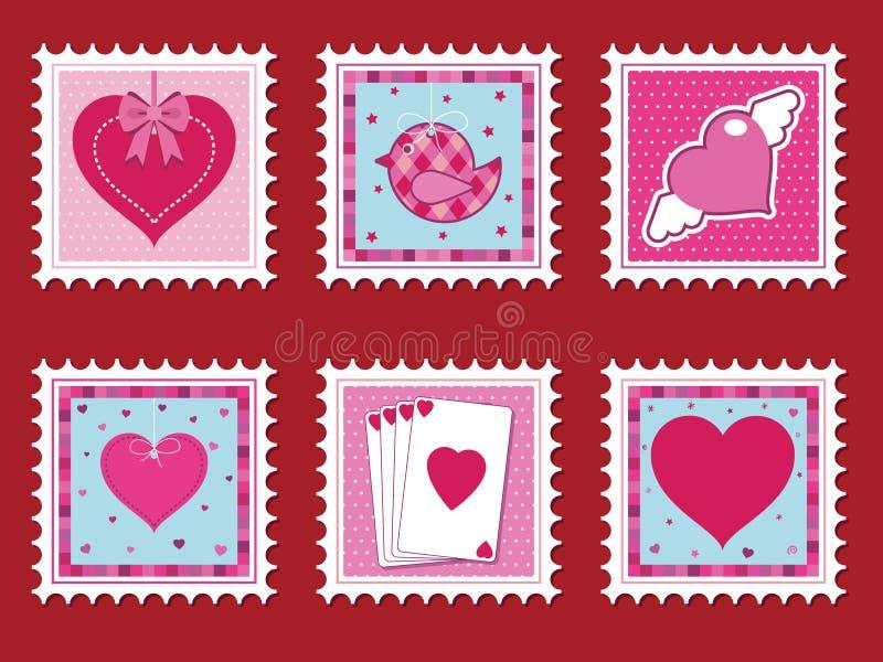 Download Valentine stamps stock vector. Image of bird, valentine - 12554006