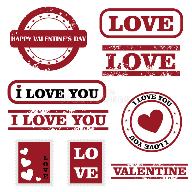 Valentine stamps. Set of nine grunge stamps for Valentine's day isolated on white background. EPS file available royalty free illustration