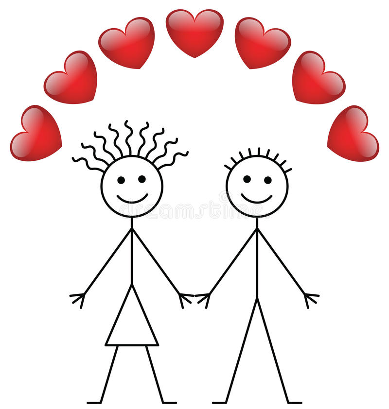 Download Valentine Stick Boy And Girl Stock Vector - Image: 17962446
