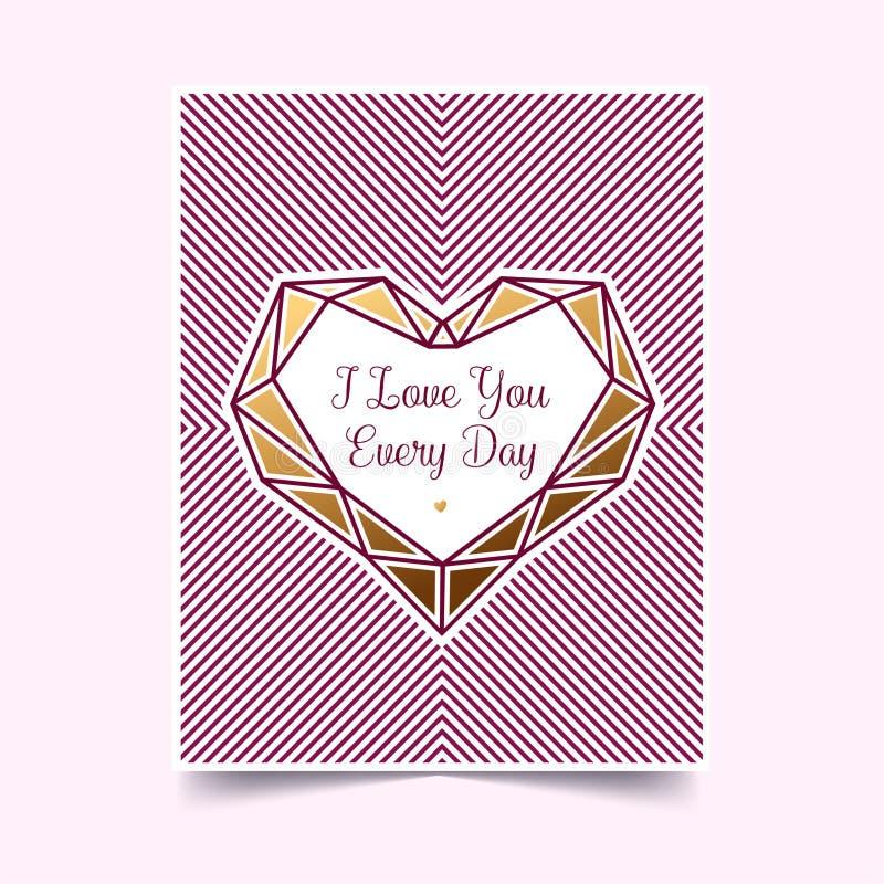 Or Valentine sur un fond blanc Invitation avec un coeur Illustration de vecteur photos libres de droits