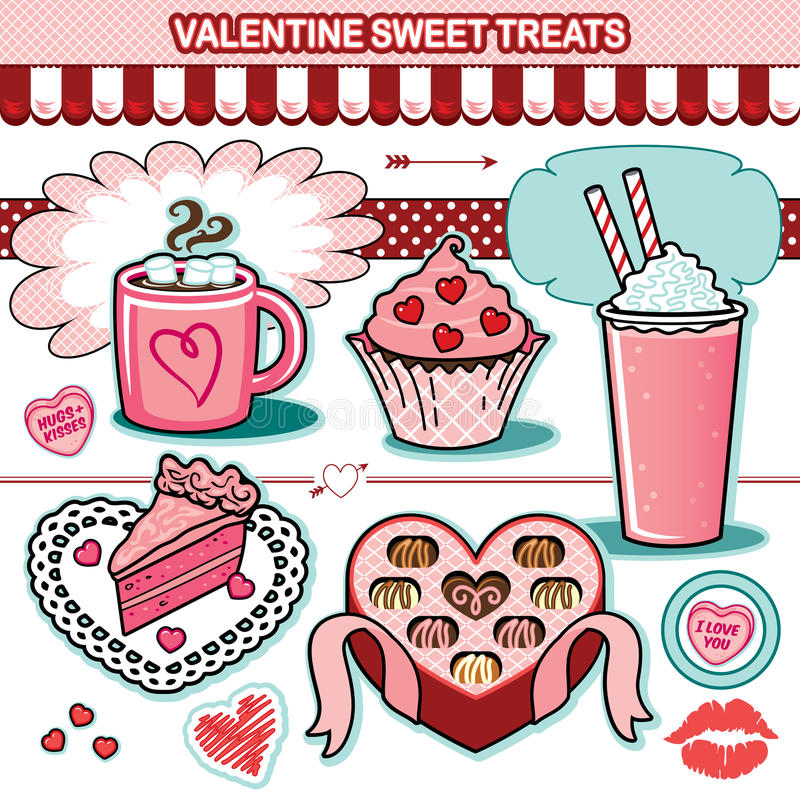 Valentine sweet treats illustration collection chocolates cupcake candy hearts cake vector illustration