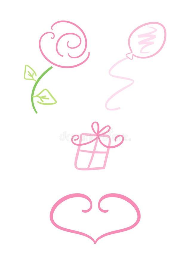 Valentine/symboles d'amour illustration de vecteur