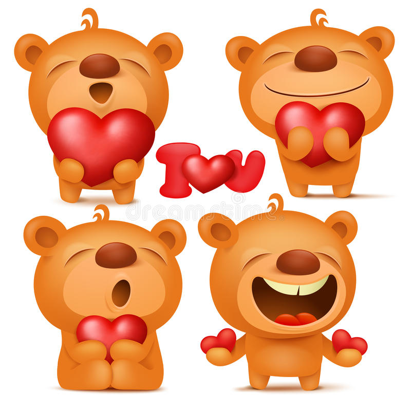Valentine teddy bear emoji cartoon characters set with hearts royalty free illustration