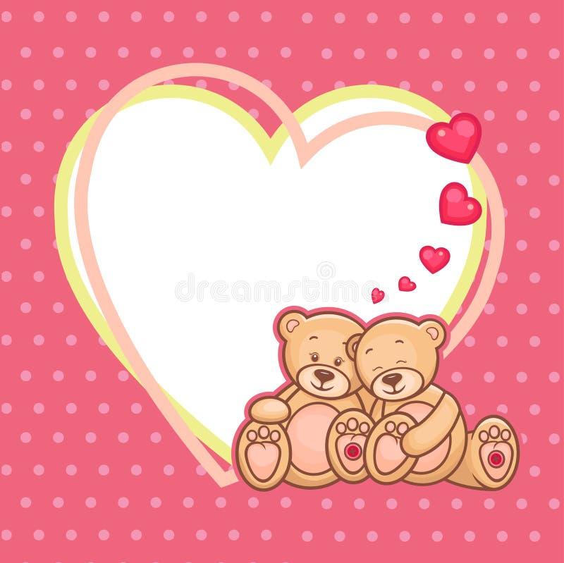 Valentine Teddy Bears Frame Stock Vector - Illustration of heart ...