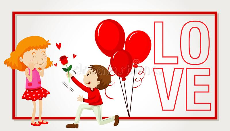 Valentine theme with lovers on the card stock photography