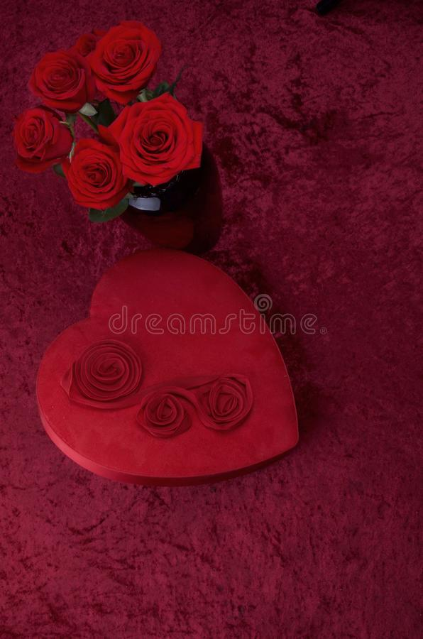 Download Valentine Themed Background With Heart Shaped Chocolate Box And Red Rose Bouquet On